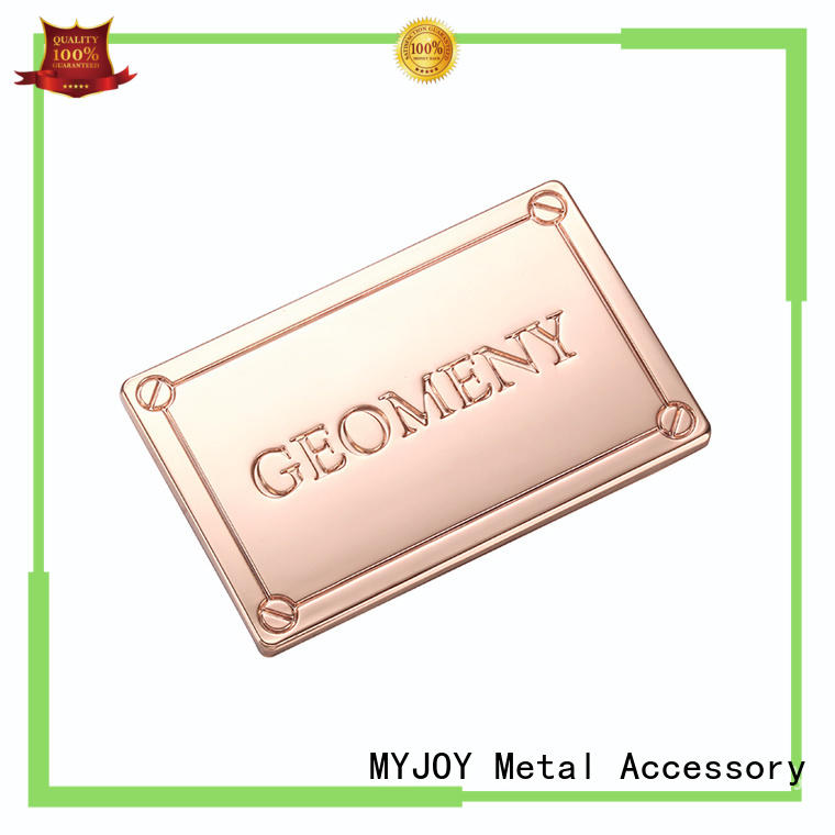 MYJOY decorative metal logo plates laser logo for purses