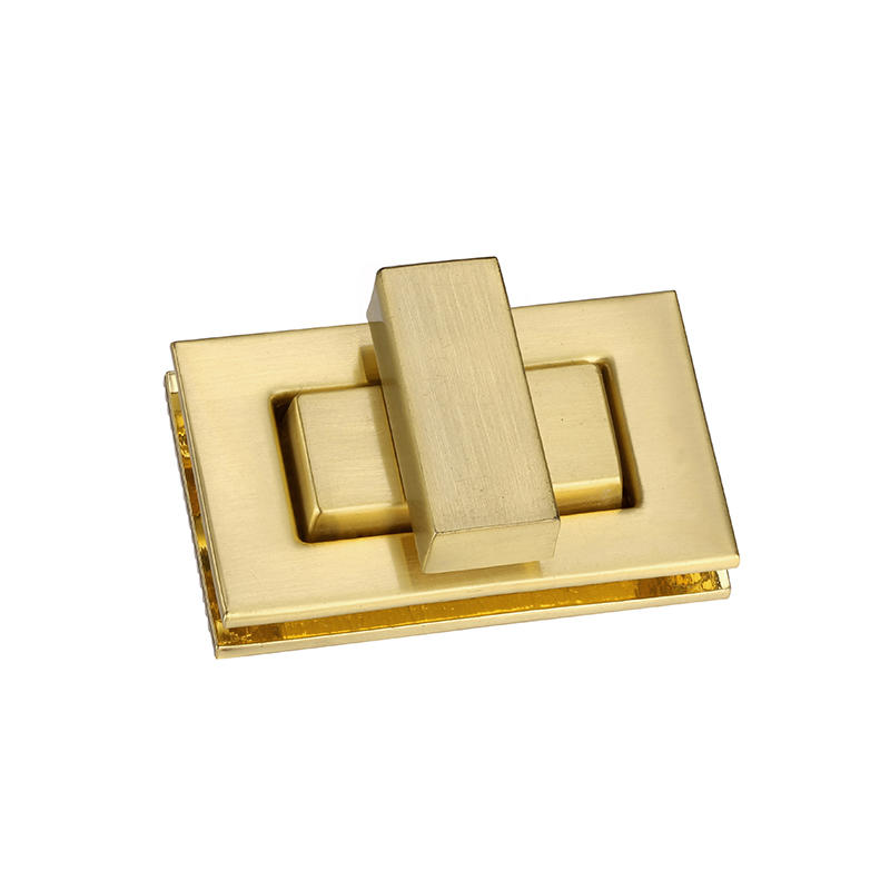 Gold rectangular turn lock for handbag