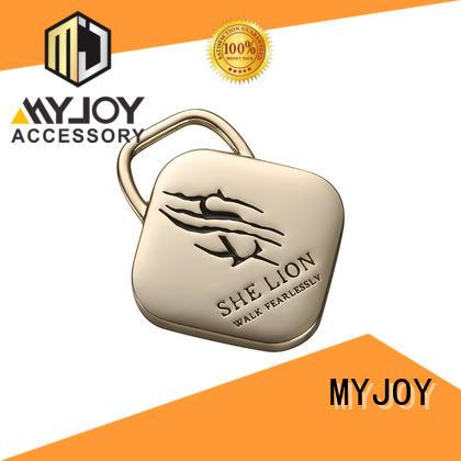 MYJOY customized custom metal logo tags for handbags gun metal for bags